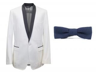 Dolce and Gabbana White Dinner Jacket with a Bow Tie