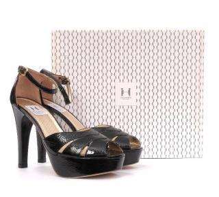 Halston Heritage Overlap Leather Platform Sandals