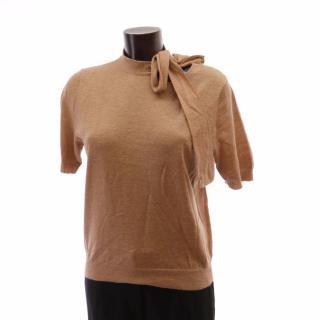 Dries Van Noten Camel Short Sleeve Bow Tie Cashmere Top