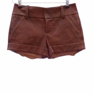 Alice + Olivia Brown Leather Shorts