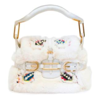 Jimmy Choo White Rabbit Fur Bag with Embroidery