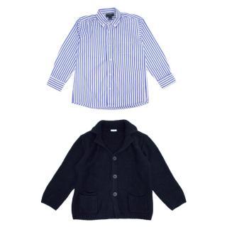 Oscar de la Renta and Il Gufo Striped Boy's Shirt and Cardigan