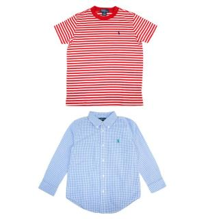 Ralph Lauren Blue Check Boys Shirt and Red Stripped T-Shirt