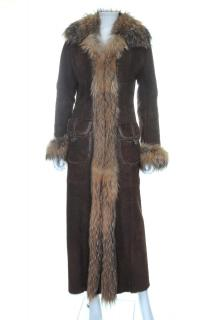 Ventcouvert Fox Fur Trim Sheepskin Long Coat