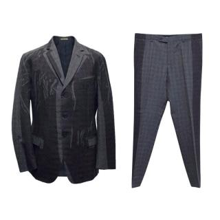Bottega Veneta Black and Grey Printed Two Piece Wool Suit