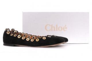 Chloe Flo Suede Scalloped Eyelet Ballerina Flats