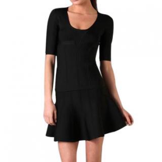 Herve Leger 'Trish' Short Sleeve A-Line Dress