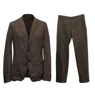 Alexander McQueen Brown Striped Suit