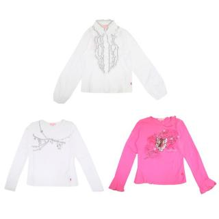 Escada Girls Pink and White Printed and Ruffled Shirts
