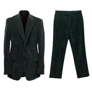Prada Dark Green Corduroy Suit