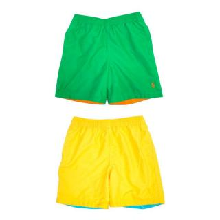 Ralph Lauren Boys Green and Yellow Swim Shorts