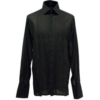 Richard James Men's Black Sheer Beaded Shirt