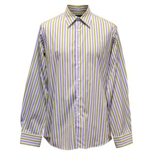 Richard James Men's Green and Purple Striped Shirt