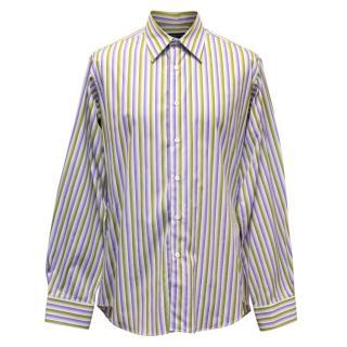Richard James Men's Green and Purple Striped Shirt