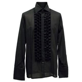 Richard James Men's Black Ruffled Shirt