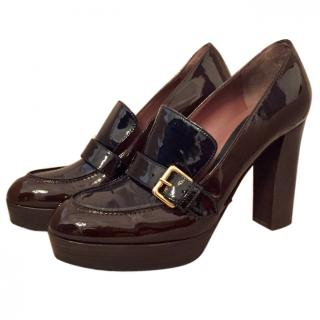 Marni dark brown & black patent leather platform loafer pumps