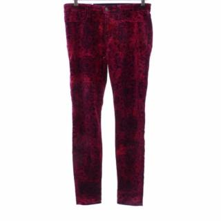 J BRAND Black Red Floral Velvet Pants