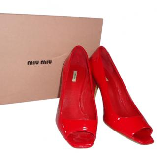 Miu Miu Red Peep Toe Shoes