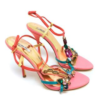 Miu Miu Pink Jewelled Heeled Sandals