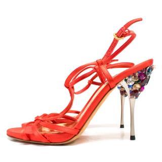 Miu Miu Red Embellished Sandals