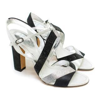 Rene Caovilla Black and Silver Block Heel Sandals