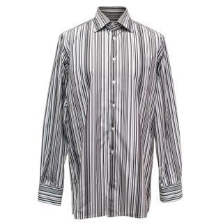 Richard James Men's Black and White Striped Shirt
