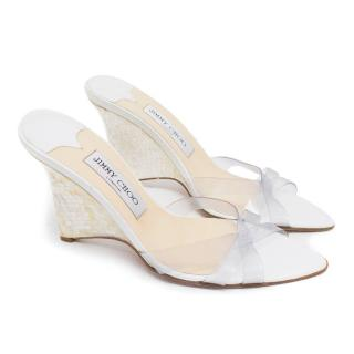 Jimmy Choo White Mother of Pearl Wedge Sandals