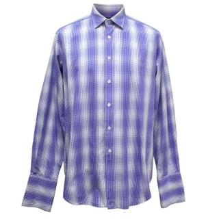 Richard James Men's White and Blue Patterned Shirt