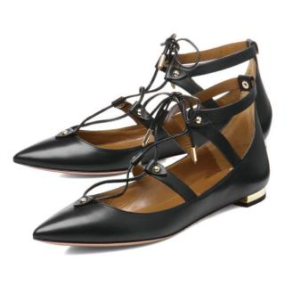 Aquazzura Black Leather Lace Up Bel Air Flats
