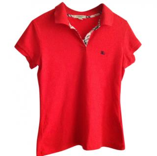 Burberry Womens Red Polo Top