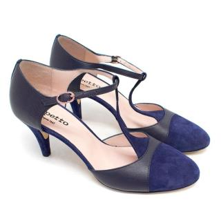 Repetto Suede and Leather Navy T-bar Heels