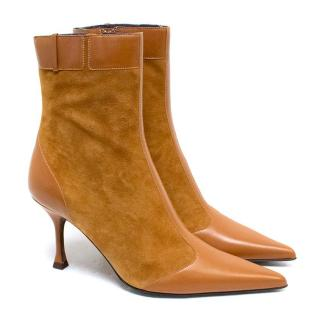 Escada Tan Leather and Suede Ankle Boots