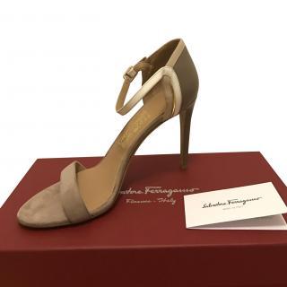 Salvatore Ferragamo taupe, beige, gold and white sandals
