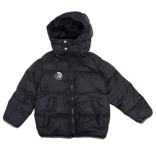 Diesel Boys Black Hooded Puffer Jacket