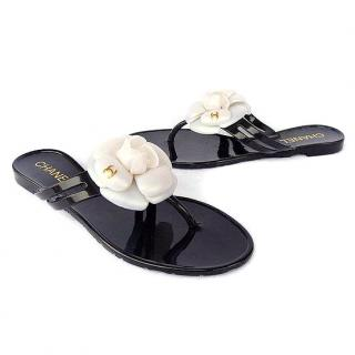 Chanel Camellia CC Flower Flats Jelly Sandals