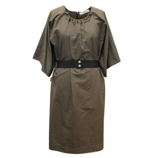 Lanvin Taupe Round Neck Belted Dress