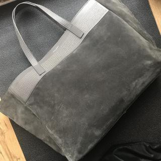 Saint Laurent grey suede and leather tote bag