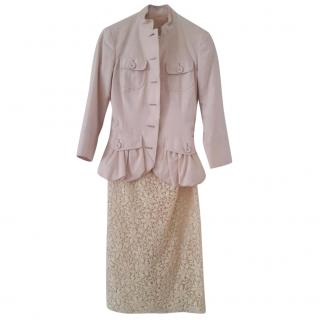 Giambattista Valli Pink and Beige Skirt Suit