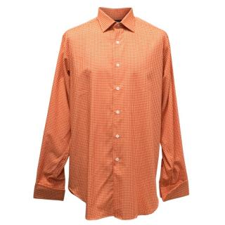 Richard James Orange Dog Tooth Pattern Shirt