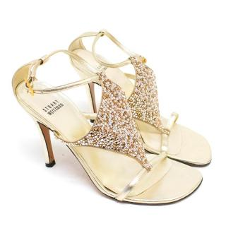 Stuart Weitzman Gold Diamante Sandals