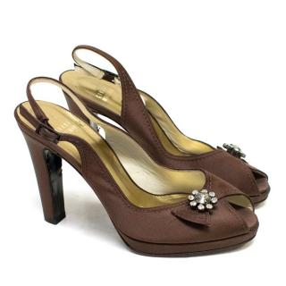 Stuart Weitzman Brown Silk Peep Toe Pumps