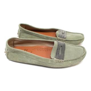 Brunello Cucinelli Green Suede Loafers with Beading