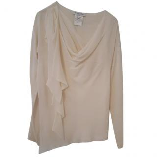 Christian Dior Cream Structured Silk Blouse