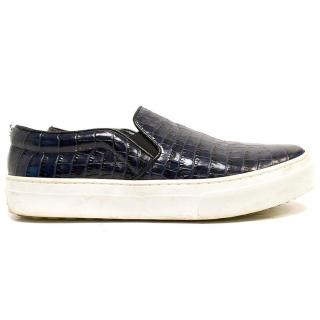 Celine Navy Mock Croc Print Slip-on Trainers
