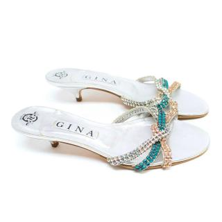 Gina Embellished Silver Kitten Heeled Sandals