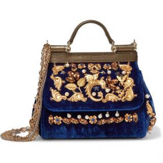 Dolce & Gabbana Mini Sicily in Blue Velvet