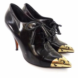 Celine Black Leather Lace Up Heeled Metal Pointed Shoes