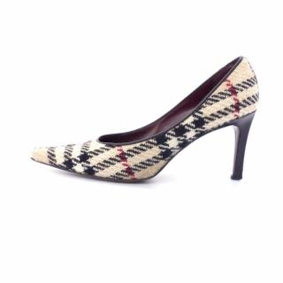 Burberry Prorsum Beige Red Wool Tweed Checked Pumps