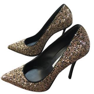 Gianmarco Lorenzi Gold/Bronze Diamante Heels
