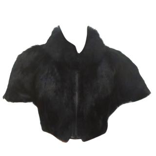 Narli Black Rabbit Fur Bolero Short Sleeve Jacket